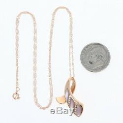 NEW Kabana Mother of Pearl Pendant Necklace 14k Rose Gold Diamond Accents