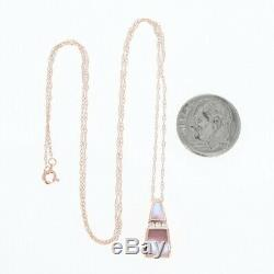 NEW Kabana Pink Mother of Pearl Pendant Necklace 14k Rose Gold Diamond Accents