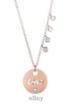 NWT $860 MEIRA T 14K Rose Gold Diamond Accent Love Charm Necklace 0.11 ctw