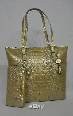 NWT Brahmin Asher Tote. Mojave Melbourne Gold with Blue Accents Embossed Leather
