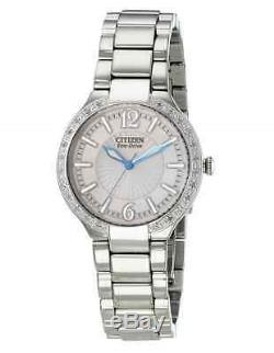 NWT Ladies Citizen EP5970-57A Firenza Eco-Drive Stainless Diamond Accent Watch