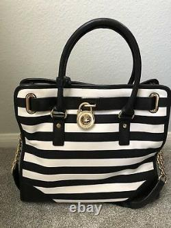 NWT Michael Kors Hamilton Large North South Stripe Purse with Gold Accents