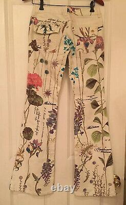 NWT Roberto Cavalli Floral Gold Accents Logo Beautiful Streth Summer Jeans IT42