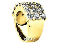 Natural 4.35Ct Round Cut 3Row Mens Ring 10K Yellow Gold GH I1 Prong with Accents