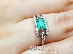 Natural Colombian Emerald Diamond Accents Women's Ring 14K White Gold Size 6.5