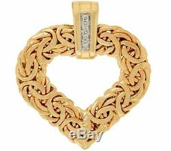 Natural Diamond Accent Byzantine Pendant Real Solid 14K Yellow Gold QVC