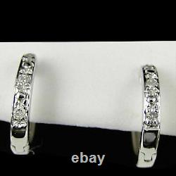 Natural Diamond Accent Mini Hoop Huggie Earrings 10ct 10k White Solid Gold