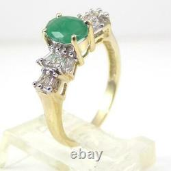 Natural Green Emerald 0.16ctw Diamond Accent 10K Yellow Gold Ring Size 7 LHI2