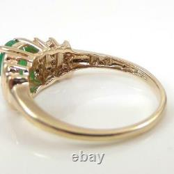 Natural Green Emerald 0.25ctw Diamond Accent 10K Yellow Gold Ring Size 7 LHJ2