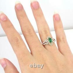 Natural Green Emerald 0.25ctw Diamond Accent 14K Yellow Gold Ring Size 7 LHH2