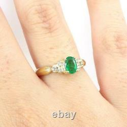 Natural Green Emerald Diamond Accent 10K Yellow Gold Ring Size 7 LHI2