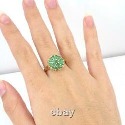Natural Green Emerald Diamond Accent Flower 14K Yellow Gold Ring Size 10 LHH2