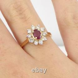Natural Red Ruby 0.30ctw Diamond Accent Halo 14K Yellow Gold Ring Size 7 LHH2