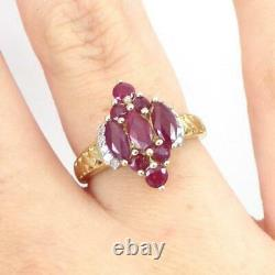 Natural Red Ruby Cluster Diamond Accent 10K Yellow Gold Ring Size 6 LHI2