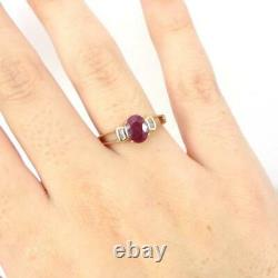 Natural Red Ruby Diamond Accent 10K Yellow Gold Ring Size 8 LHI2