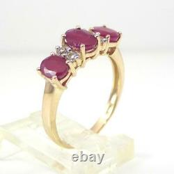 Natural Red Ruby Diamond Accent Band 10K Yellow Gold Ring Size 7 LHH2