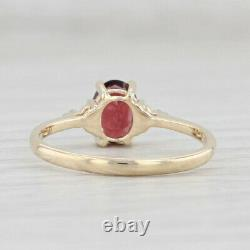 New 0.80ct Garnet Ring 10k Yellow Gold Size 7 Oval Solitaire Diamond Accents