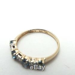 New 10k Gold Blue Zircon December Birthstone Diamond Accent Stackable Band Ring
