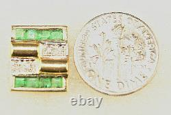 New 14k Yellow Gold Genuine Emerald Cufflinks With Diamond Accents 8.5 Grams
