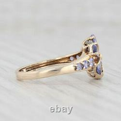 New 1.56ctw Tanzanite Flower Ring 10k Yellow Gold Size 7 Diamond Accents Floral