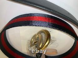 New Gucci Belt Black With Red Accent Luxury Gold Double G Logo Buckle Size110/44