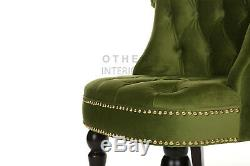 New Jasper Accent Chair Green Velvet Deep Button Tufted Gold Stud Free Delivery