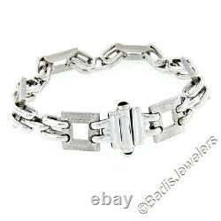 New Mens 14K White Gold Fancy Textured Square Oval Link Bracelet with Onyx Accents