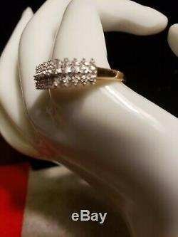 New, Women's 10K Yellow Gold Pyramid Ring, 3 rows of 27 Accent Diamonds sz. 10 1/2