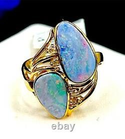 Nwt 14k Yellow Gold 3ct Natural Boulder Opal. 07ct Diamond Accent Ring 7 Rt $716