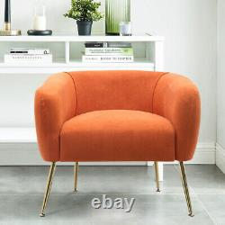 Occasional Accent Chair Matte Velvet Tub Seat Armchair Sofa With Gold Metal Legs