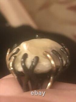 One Of A Kind HUGE Baroque Pearl Artisan Sterling With 18k Gold Accents Ring SZ8