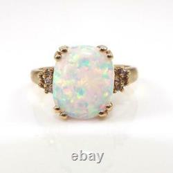 Opal & Diamond Accent Modernist 10K Yellow Gold Ring Size 7.5 LHH2