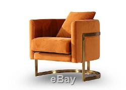 Orange Velvet & Gold Frame Tub Chair Accent Chair Free UK Delivery