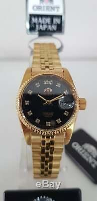 Orient Oyster President Diamond Accent NR16001B Ladies Black Dial Made in Japan