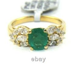 Oval Green Emerald & Diamond Accents Solitaire Ring 18k Yellow Gold 1.66Ct
