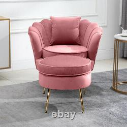 Oyster Accent Armchair Sofa Chair with Footstool & Cushion Set Lounge Living Room