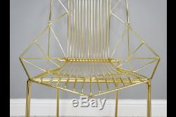 Pair Of 2 Modern Metallic Gold Metal Accent Dining Chairs (dx6386)