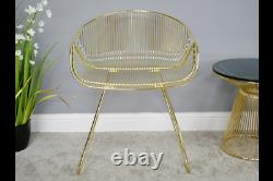 Pair Of 2 Modern Metallic Gold Metal Accent Dining Chairs (dx6389)