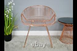 Pair Of 2 Modern Metallic Rose Gold Copper Metal Accent Dining Chairs (dx6391)