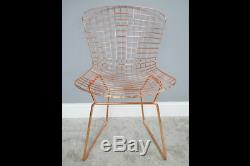 Pair Of 2 Modern Metallic Rose Gold Copper Metal Accent Dining Chairs (dx6397)