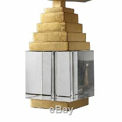 Pair Upscale Modern Pyramid Style Metallic Gold Accent Table Lamps Crystal Cub