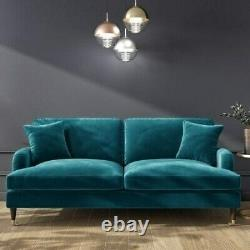 Payton Teal Blue Velvet 3 Seater Sofa Throw Cushions Gold Accent Front Castors