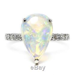 Pear Cut Opal Solitaire Ring with Accent Diamonds 18K White Gold 1.94ctw
