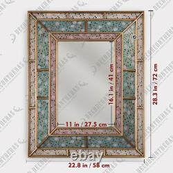 Peruvian Wall Accent Mirror, Turquoise mirror wall decor, Large Vanity Mirrors