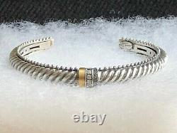 Philip Gavriel 925 Sterling Silver Cuff Bracelet With Gold And Diamond Accents
