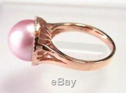 Pink Freshwater Pearl with Diamond Accents Solitaire Ring Size 7 14k Rose Gold