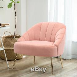 Pink Matte Velvet Upholstered Armchair Scallop Oyster Tub Accent Cuddle Chair