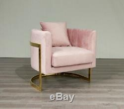 Pink Velvet & Gold Frame Tub Chair Accent Chair Free UK Delivery