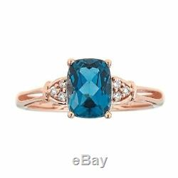 Promise Ring for Women London Blue Topaz and Diamond Accent 10K Rose Gold