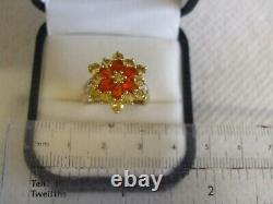 QVC fire opal yellow beryl and diamond accent sunflower ring 9ct 9k yellow gold